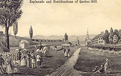 Esplanade and Fortifications of Quebec, 1832. From an arly postcard. (Farfan Collection)